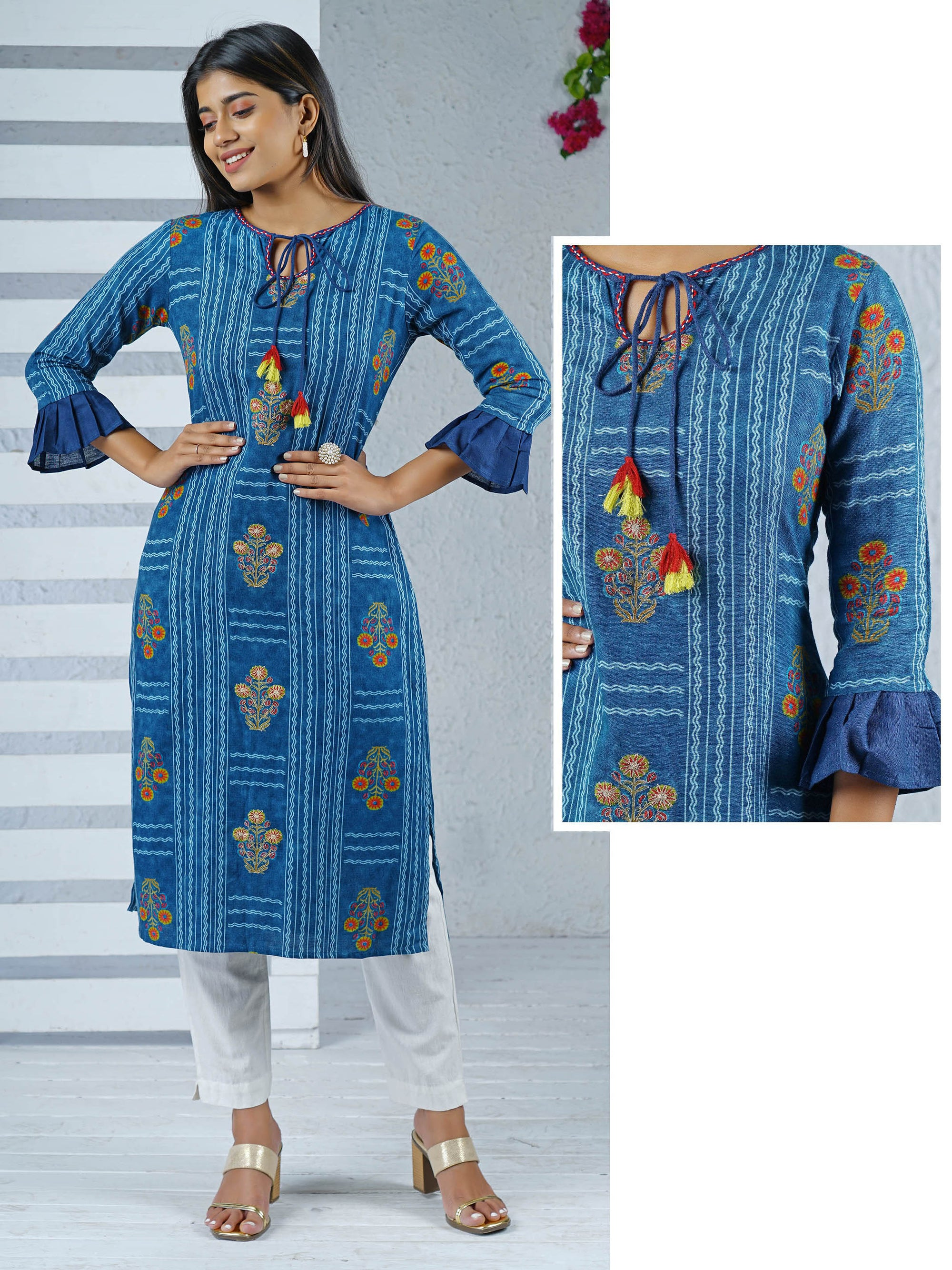 Cord Embroidered Ruffle Sleeves Detailed Kurti