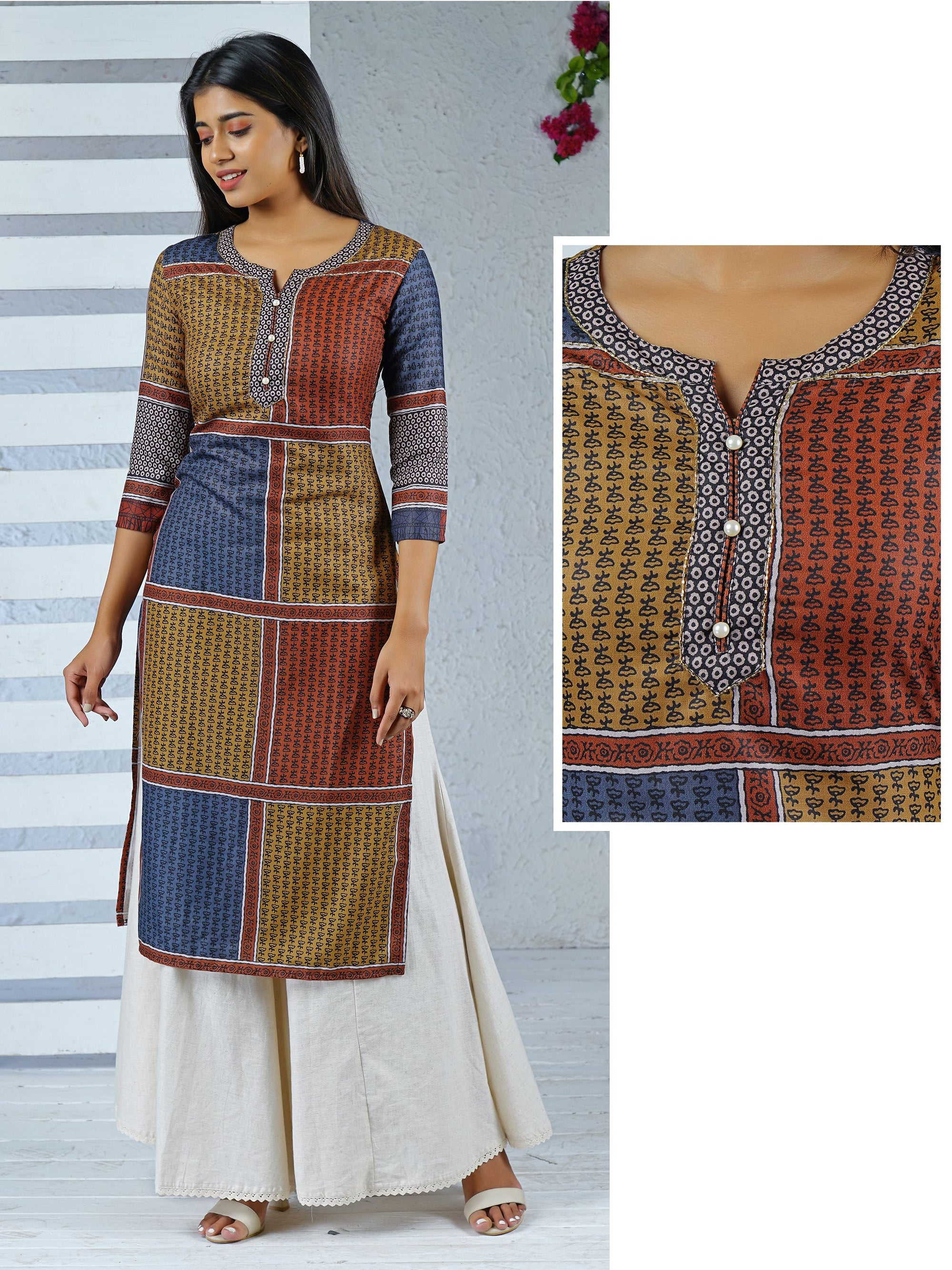 Cut-dana & Pearl Buttoned Abstract Printed Art Silk Kurti