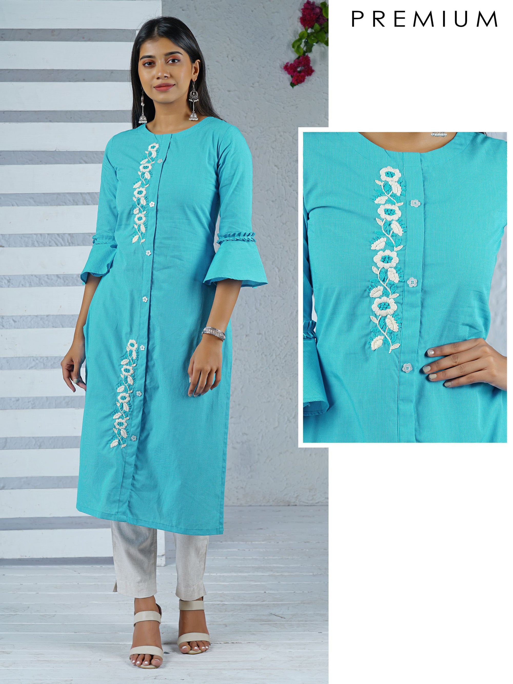 Checked & Embroidered Flared Sleeve Kurti - Blue