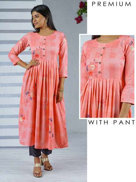 Printed Gathered Waist Kurti & Pant Set