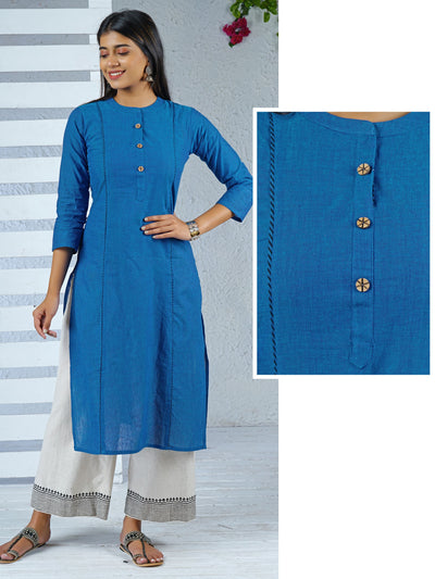 Chakra Button detailed Two Toned Panel Kurti