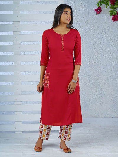Checked Pocket Kurta With Quirky Print Pant Set - Red