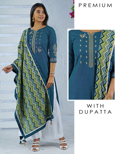 Minimal Floral Embroidered Kurti with Chevron Printed Dupatta