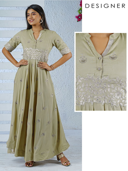 Gota Applique & Sequins Embroidered Anarkali