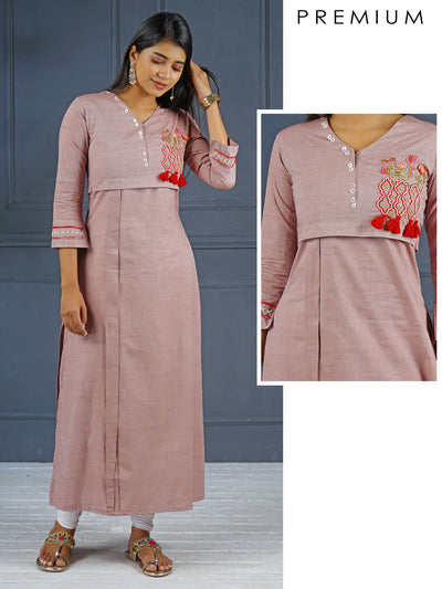 Placement Embroidered Kurti - Dusty Pink