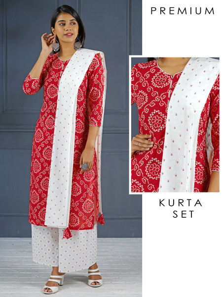 Bandhani Kurta, Printed Dupatta And Palazzo Set - Red