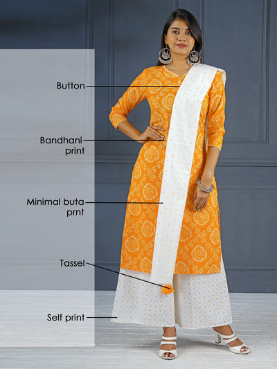 Bandhani Kurta, Printed Dupatta And Palazzo Set - Yellow