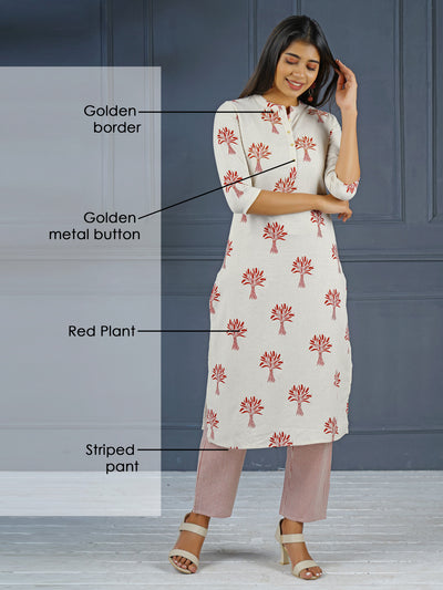 Red Plant Golden Border Print Kurta And Stripes Pant Set
