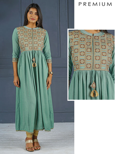 Elegant Embroidery With Dori Tie-up in Green Anarkali - Green