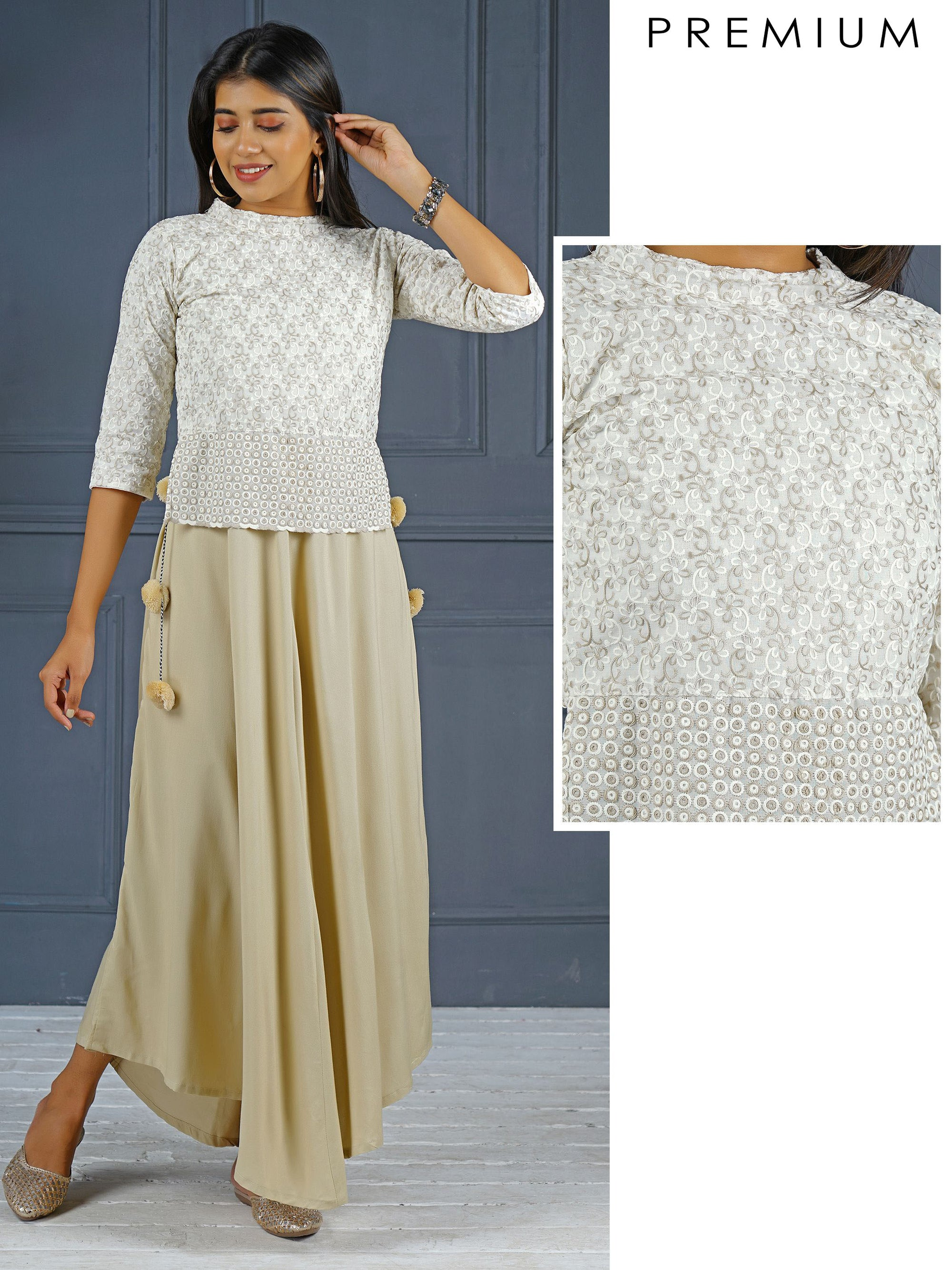 Detachable Hi-Low Kurta With Embroidered Jacket