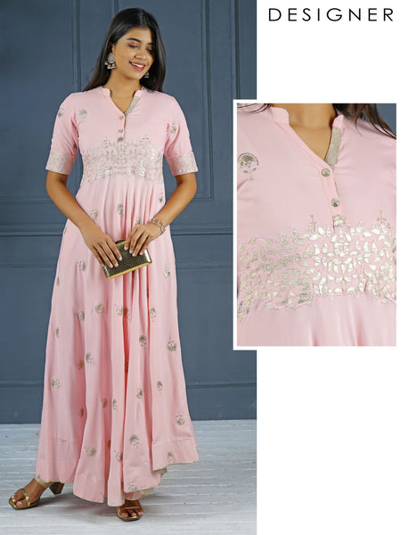 Gota Applique & Sequins Embroidered Anarkali - Baby pink