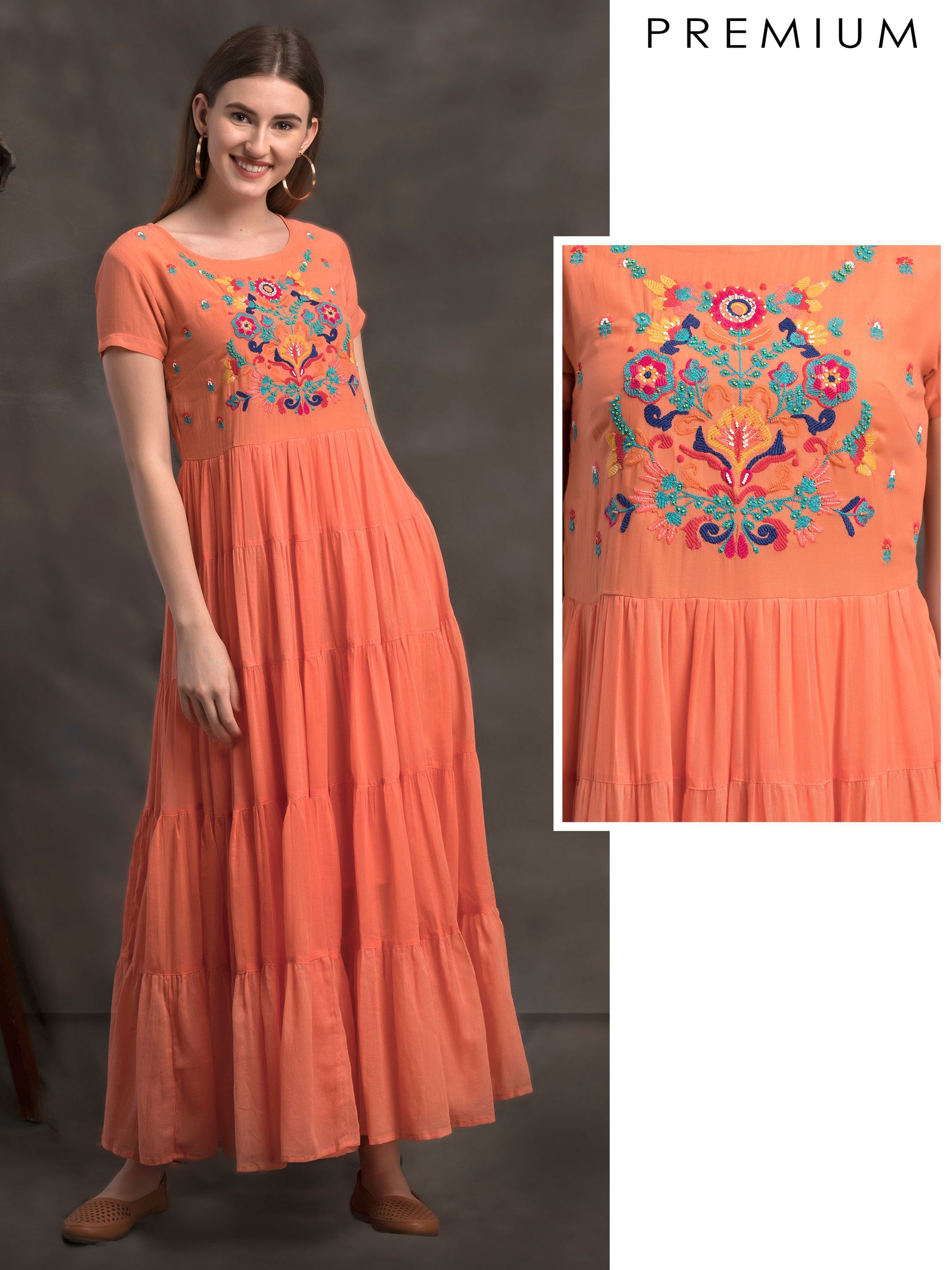 Tiered Maxi Dress With Colourful Thread and Bead Floral Embroidery - Orange