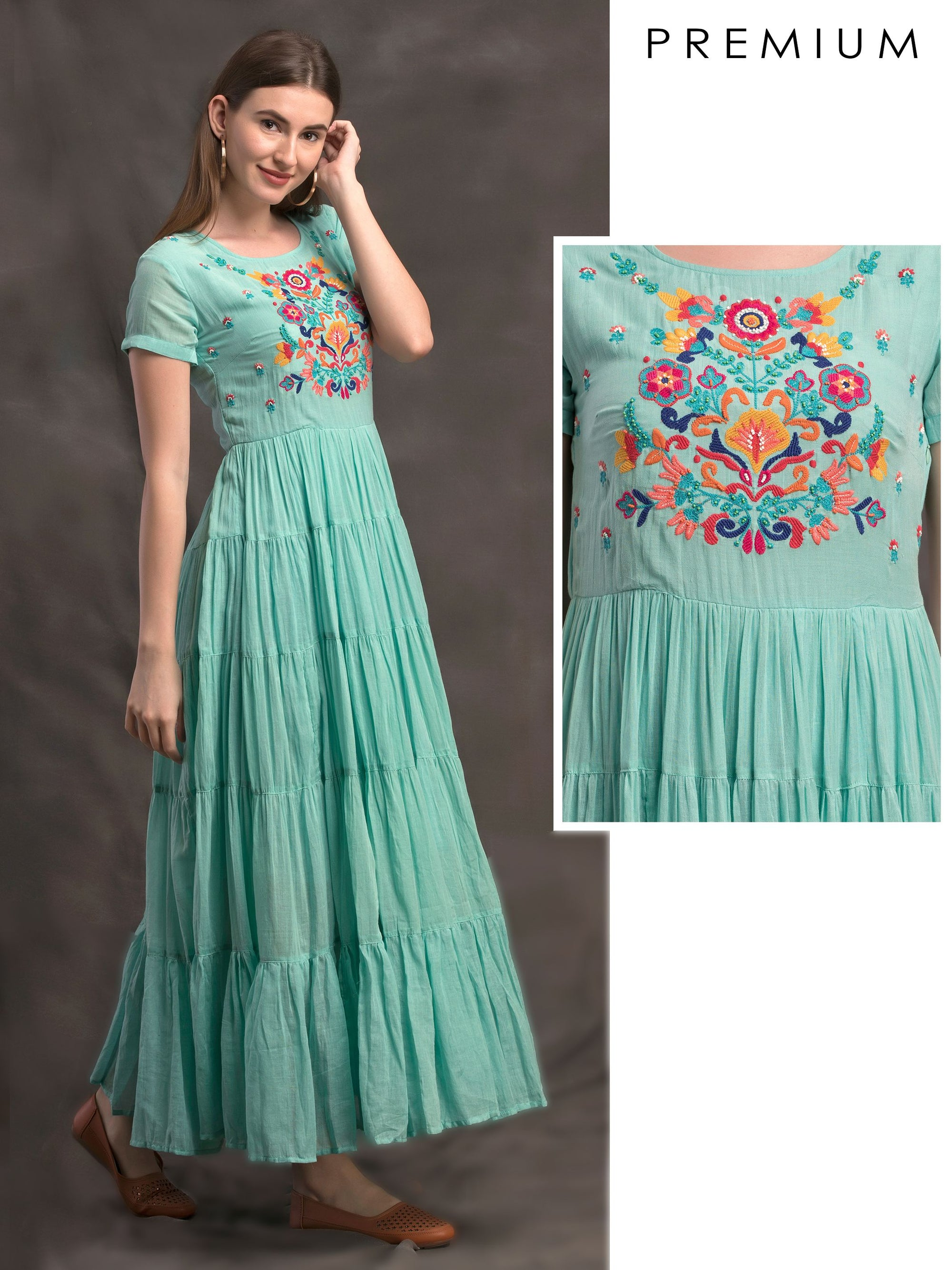 Tiered Maxi Dress With Colourful Thread and Bead Floral Embroidery - Blue