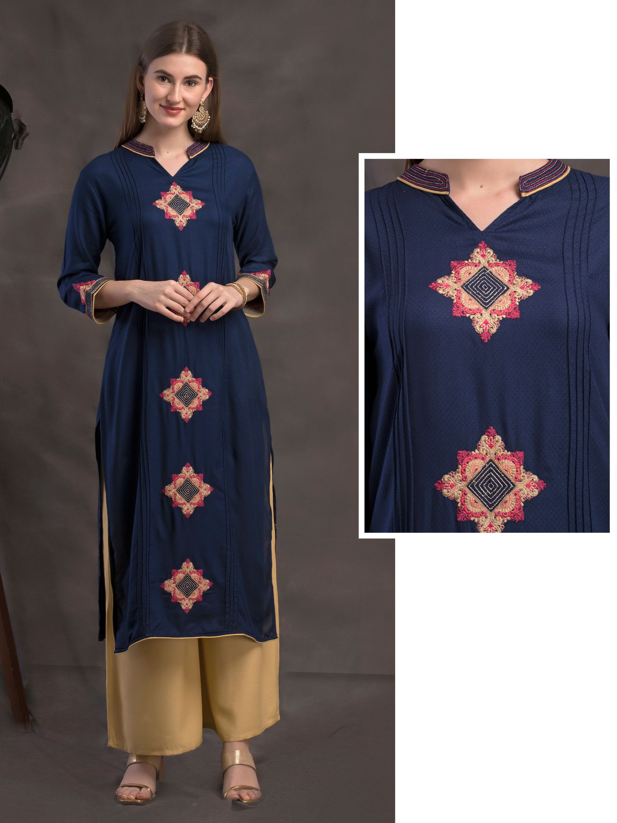 Rangoli Embroidered, Pin tuck & Self Designed Viscose Kurti – Navy Blue