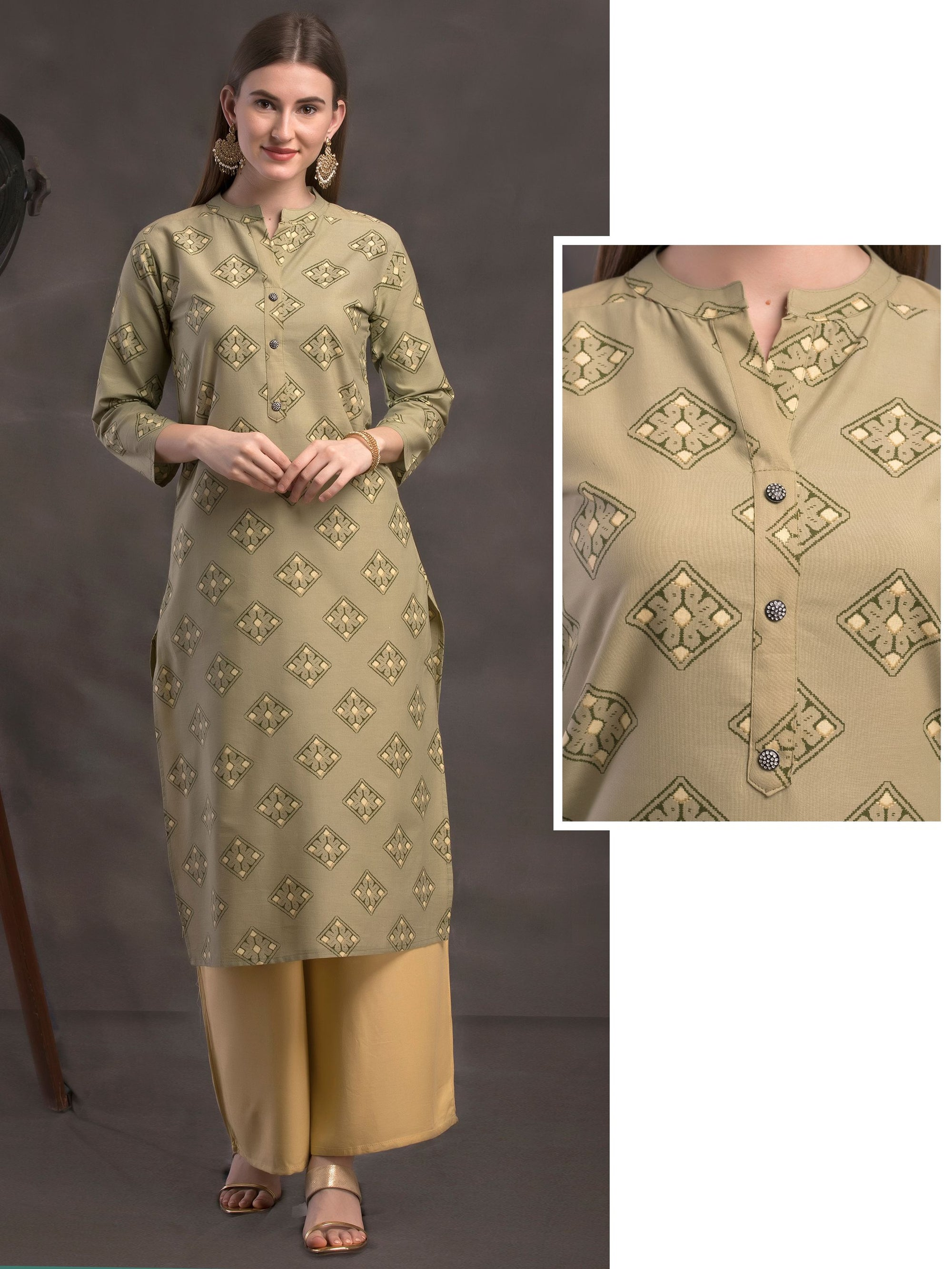 Abstract Geometric Printed Kurti - Green