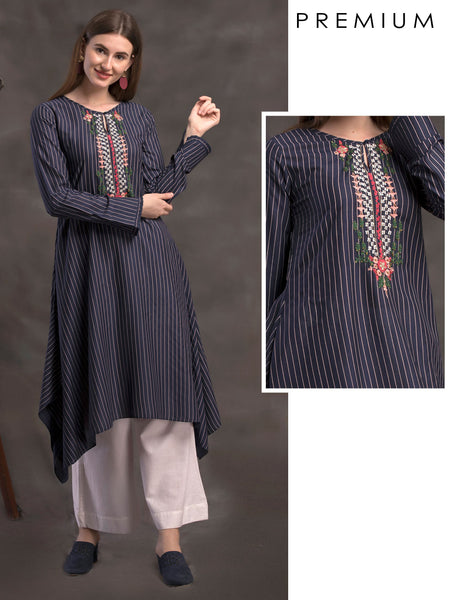 Striped & Embroidered Asymmetrical Kurti