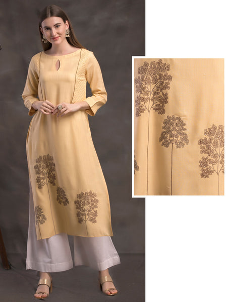 Tree Embroidery & Sequins Embellished Mock Jacket Handloom Cotton Kurti – Lemon Yellow