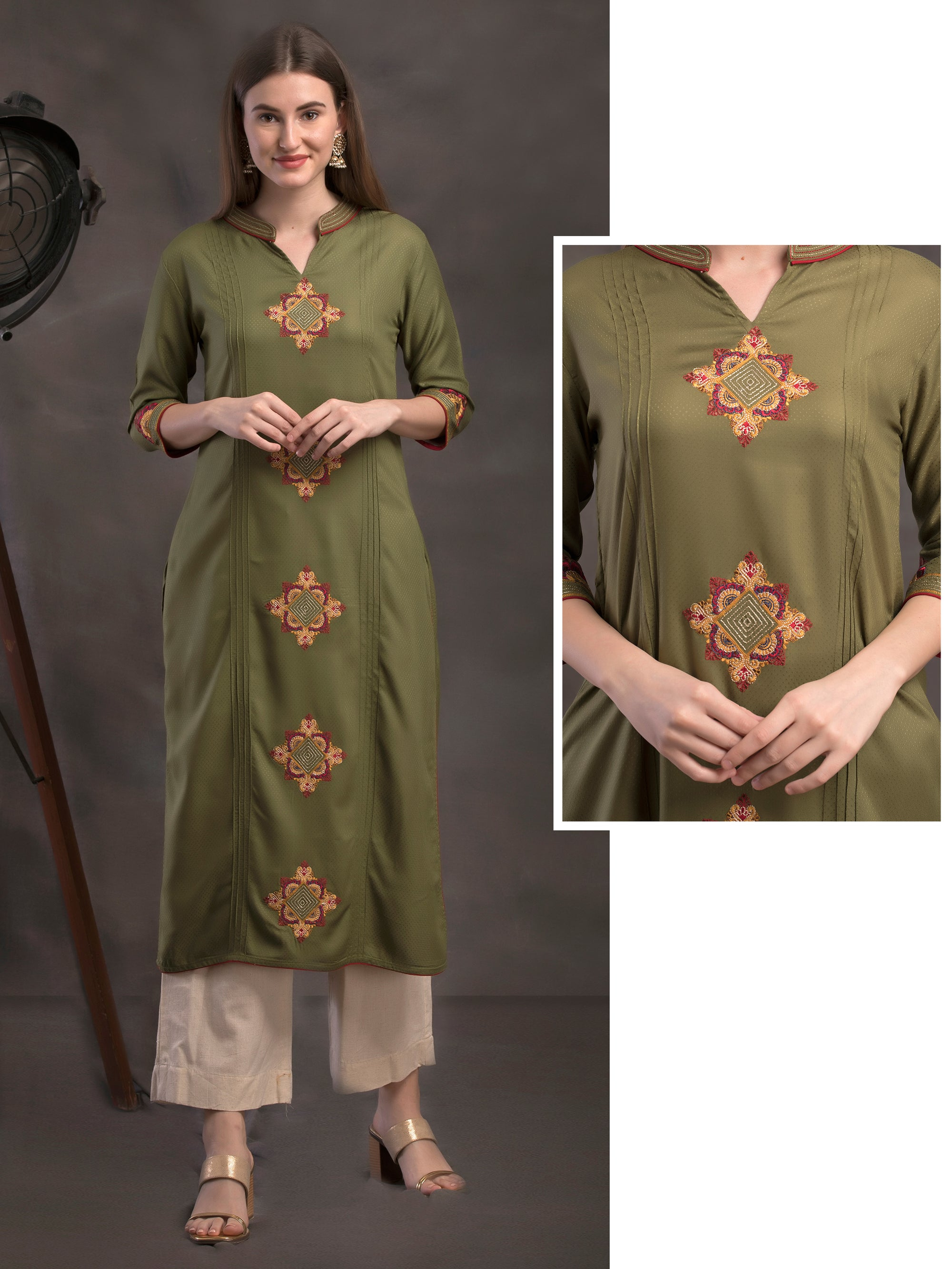 Rangoli Embroidered, Pin tuck & Self Designed Viscose Kurti – Juniper Green