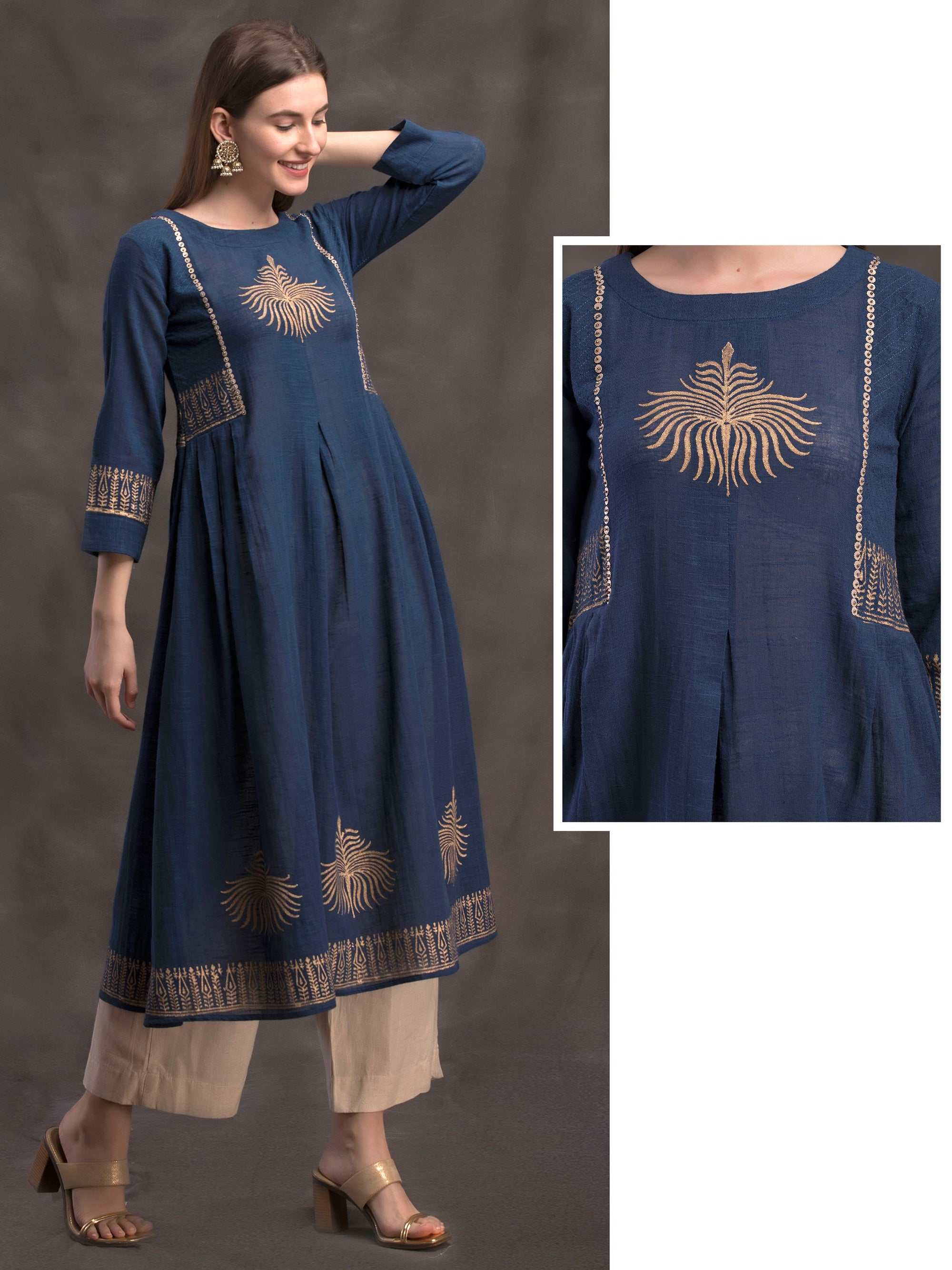 Khadi Placement Printed Cotton Kurti – Navy Blue