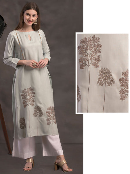 Tree Embroidery & Sequins Embellished Mock Jacket Handloom Cotton Kurti – Flint Grey