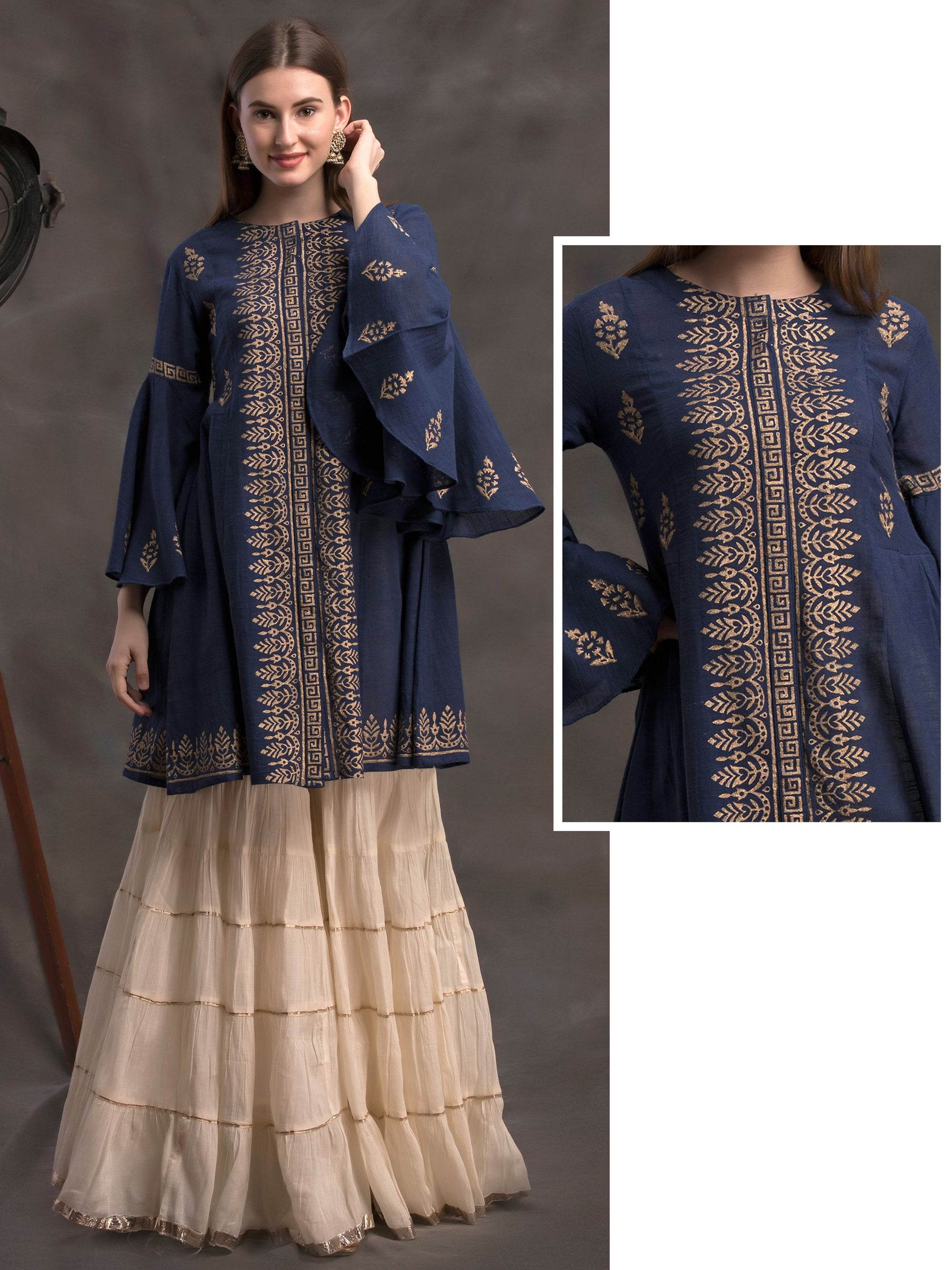 Gold Foil Printed & Ruffle Sleeved Handloom Cotton Panel Kurti – Navy Blue