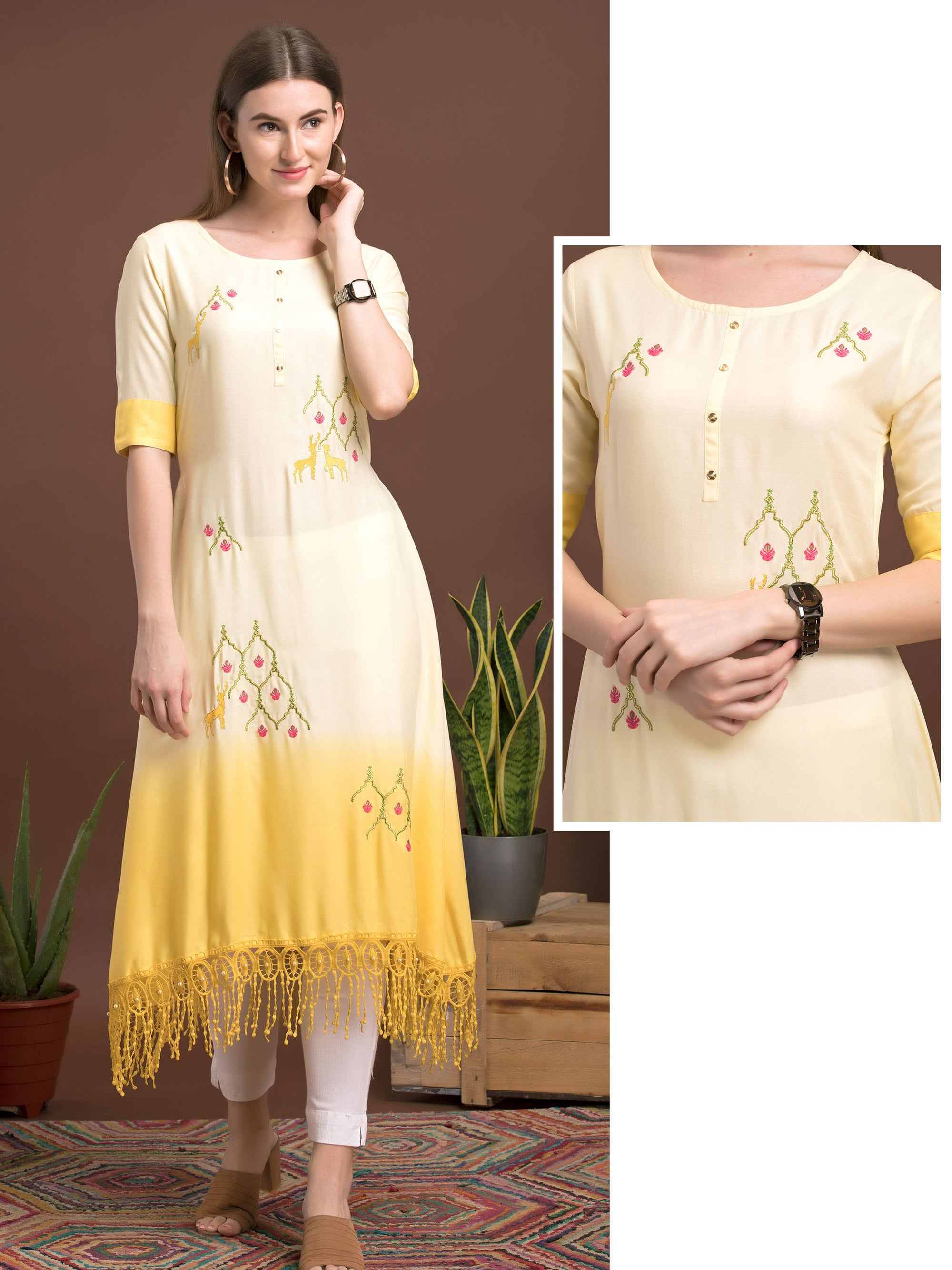 Ombre Dipped Hem Placement Embroidered Kurti - Yellow