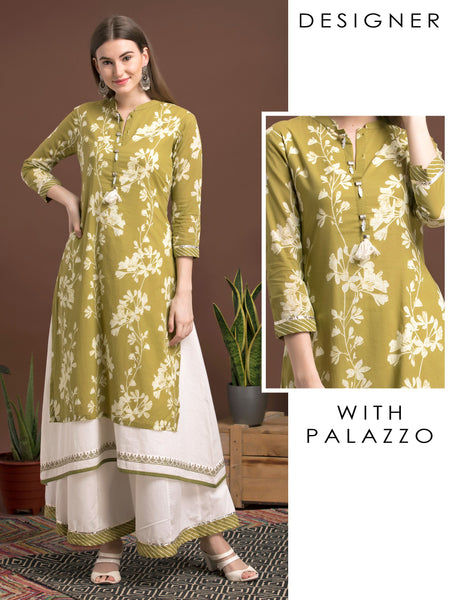 Floral Printed Kurta With Gotta And Bandhini Border And Palazzo Set - Green