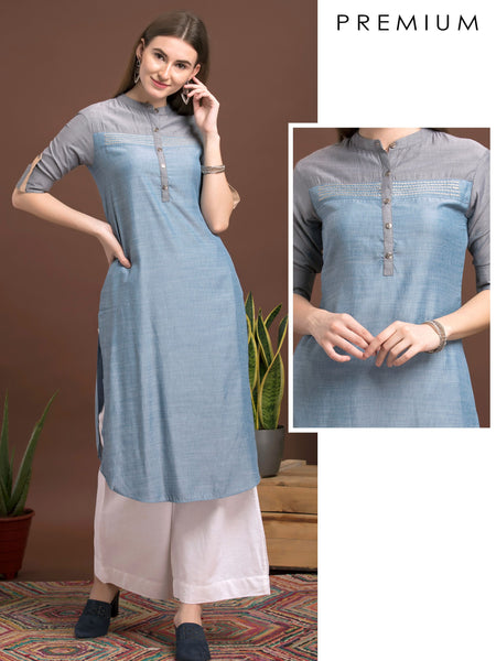 Oxidized Metal Buttoned, Woven Textured Silk Kurti