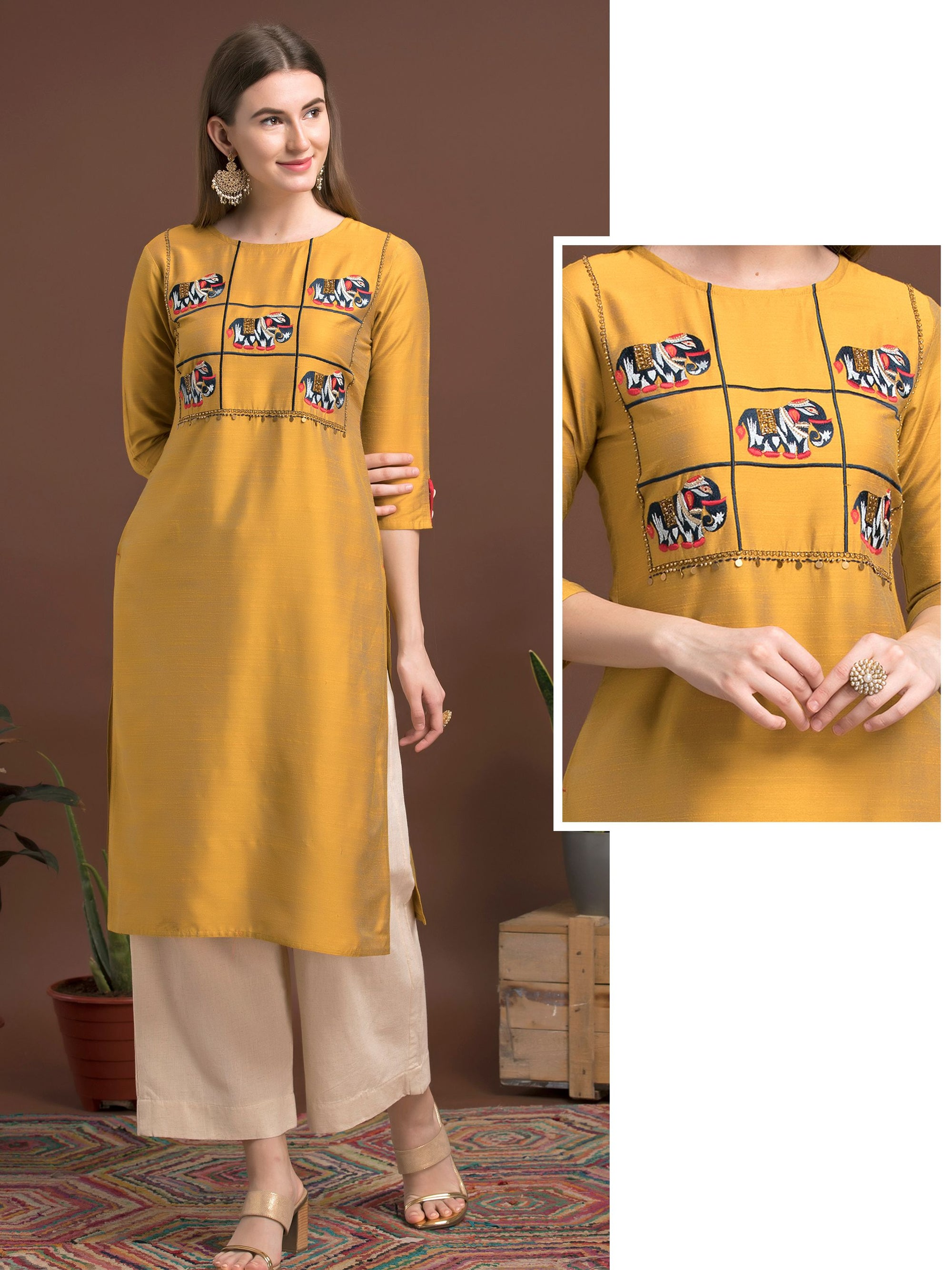 Elephant Embroidered, Cut-dana & Bead Worked Two Tone Raw Silk Kurti – Mustard Yellow