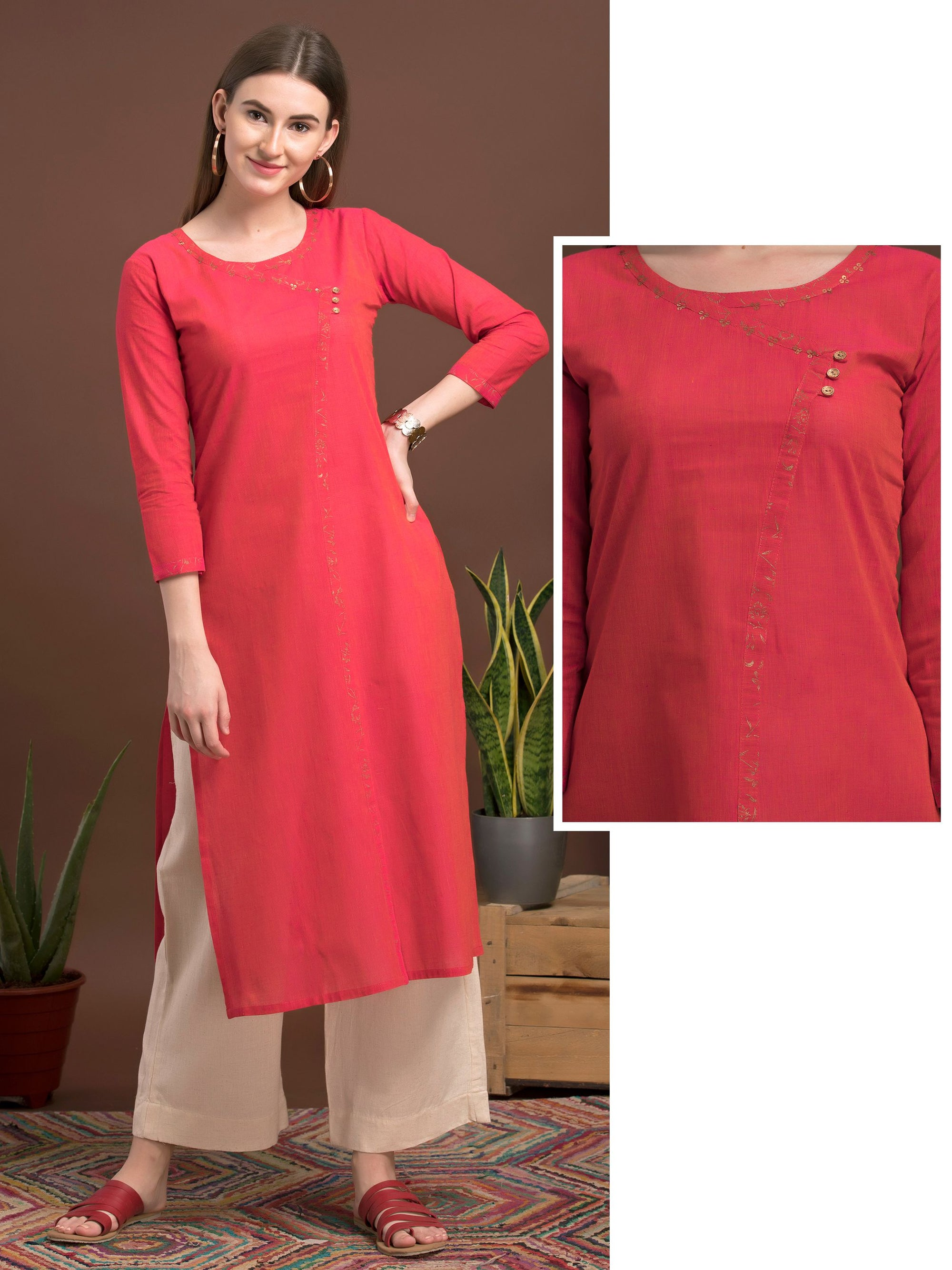 Minimal Detail Cotton Kurti - Red