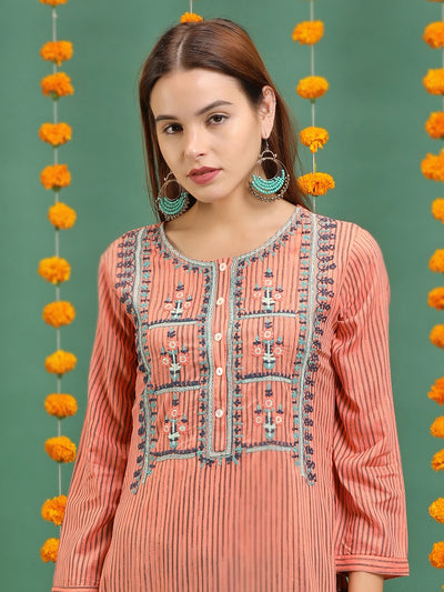 Floral Cord Embroidered Vertical Striped Kurti – Peach