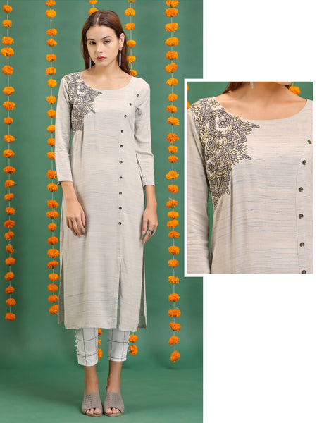 Embossed Thread Embroidered, Antique Metal Buttoned Kurti