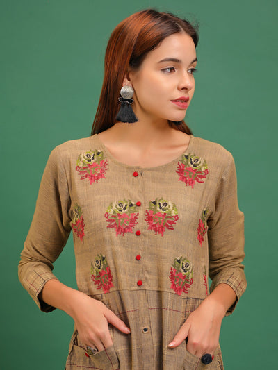 Multi Color Cross Stitch Embroidered Woven Textured Panel Kurti