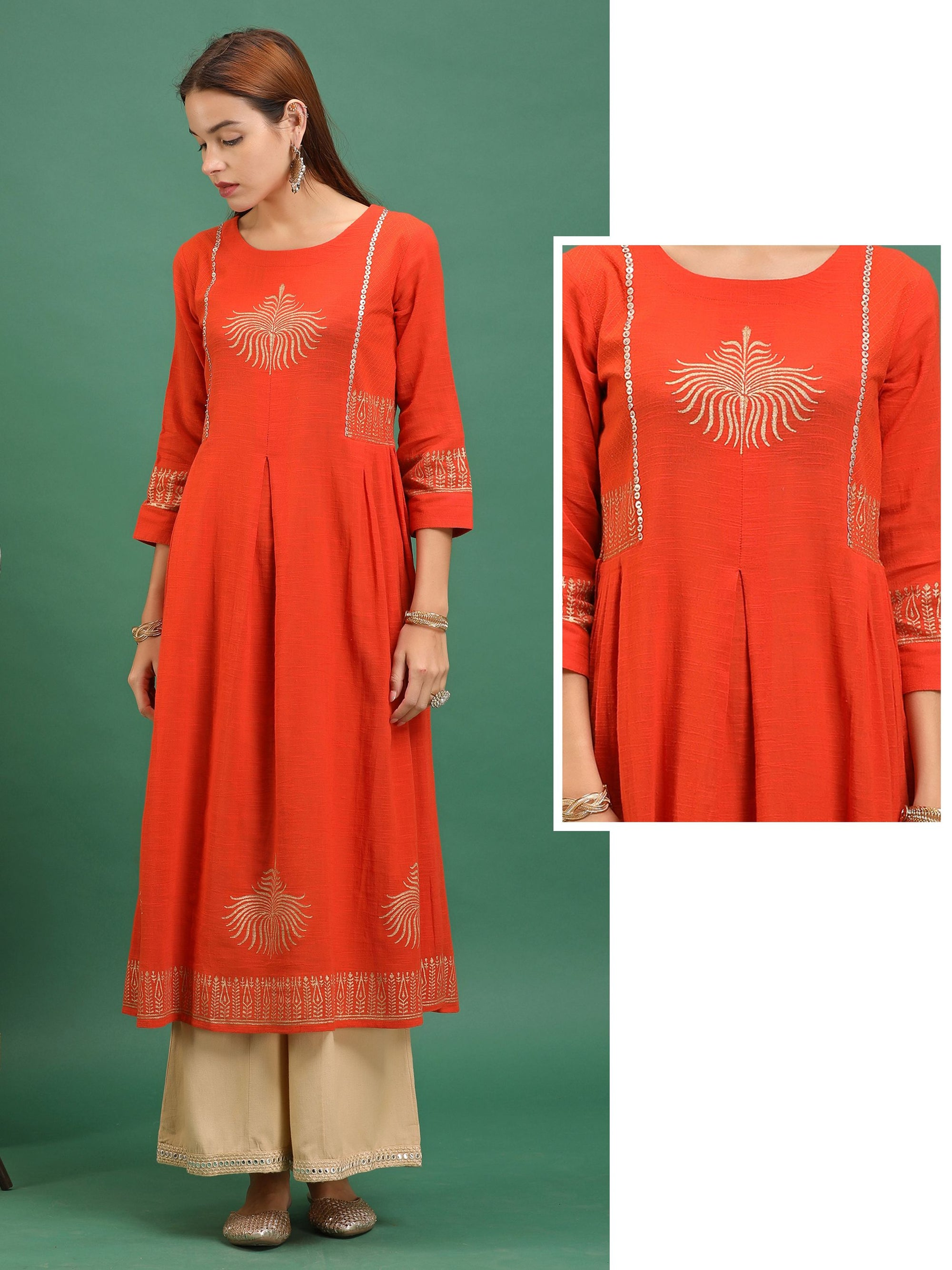 Khadi Placement Printed Cotton Kurti – Orange