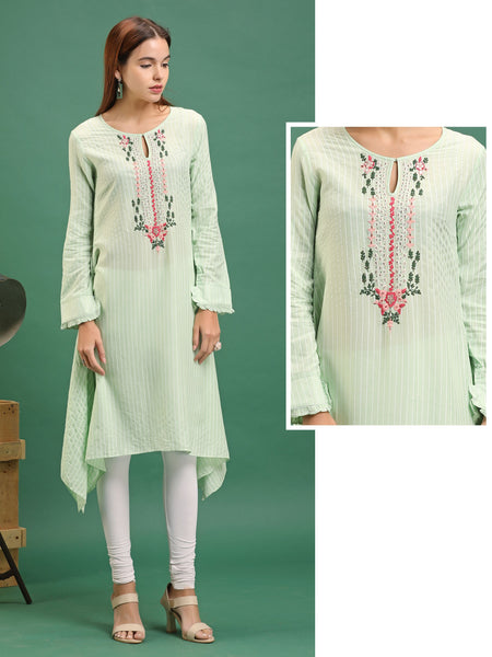 Striped & Embroidered Asymmetrical Kurti – Mint Green