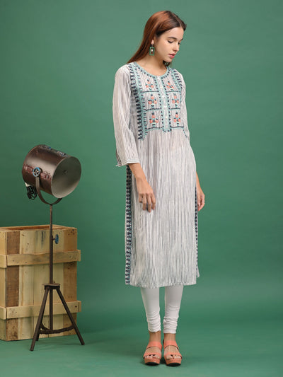 Floral Cord Embroidered Vertical Striped Kurti – White