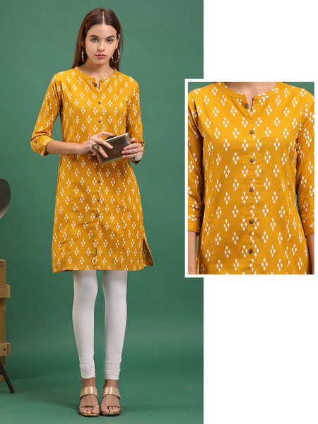 Repeat Motif  Kurta - Yellow