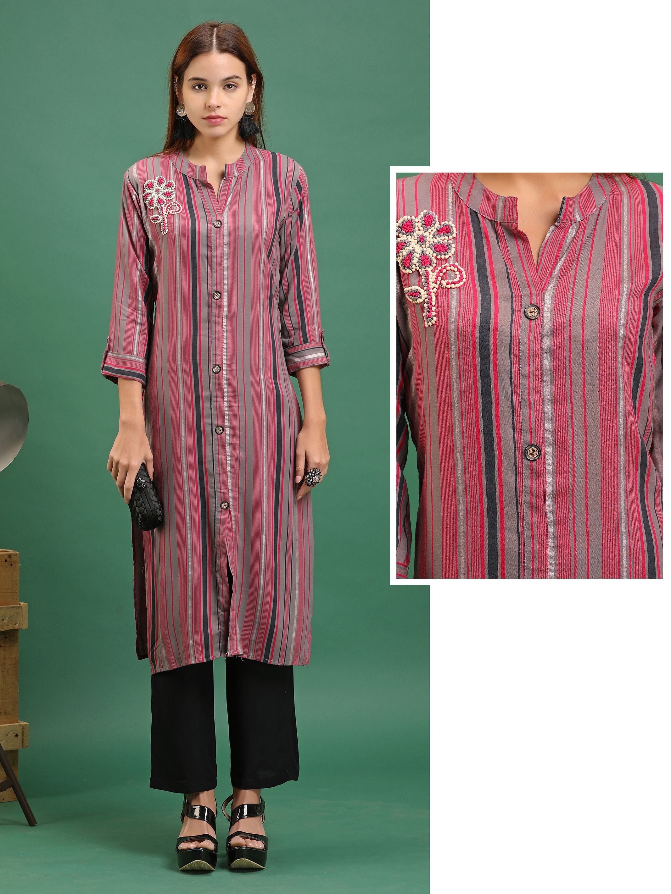 248d747cf71 French Knot Embroidery   Multi Color Striped Rayon Kurti – Pink