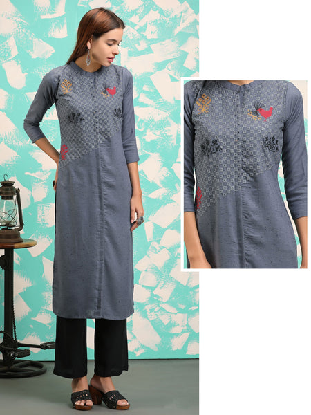 Cross Stitch Bird & Floral Embroidered Khadi Cotton Kurti
