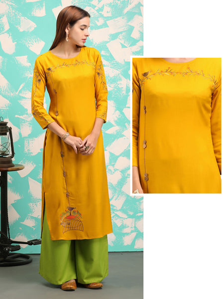Cage & Bird Embroidered, Coconut Shell Buttoned Kurti