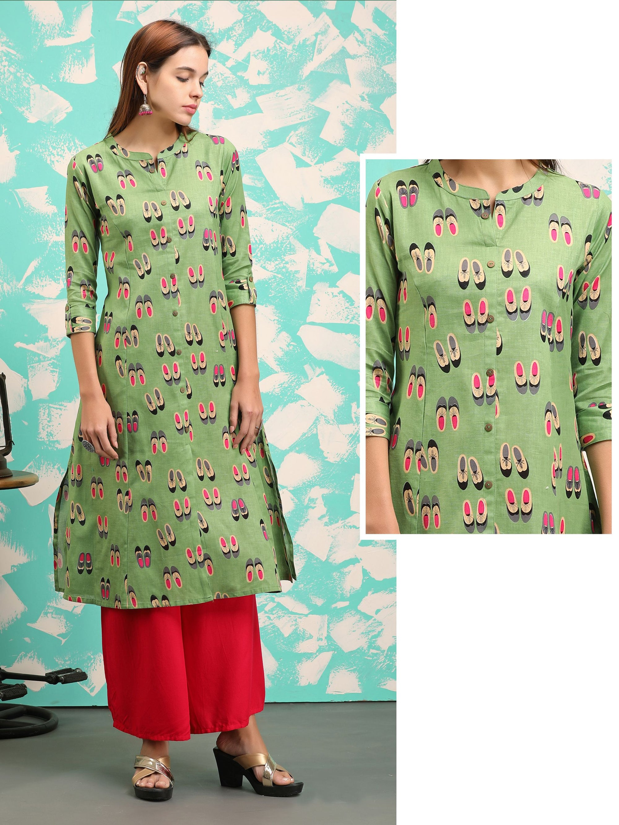 Casual Shoe Printed & Coconut Shell Buttoned Princess Cut Kurti - Moss Green