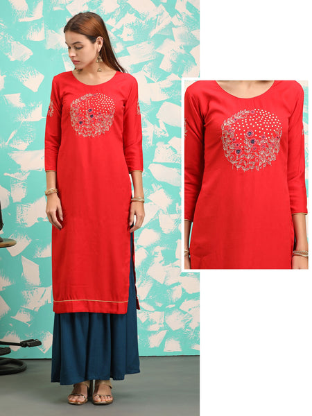 Placement Floral Embroidered & Stone Work Cotton Kurti