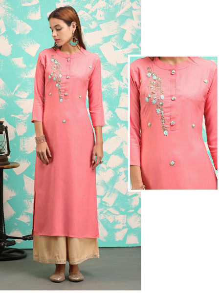 Zardosi, Cut-dana, Antique Bead work Detailed French Knot Embroidery Kurti – Peach