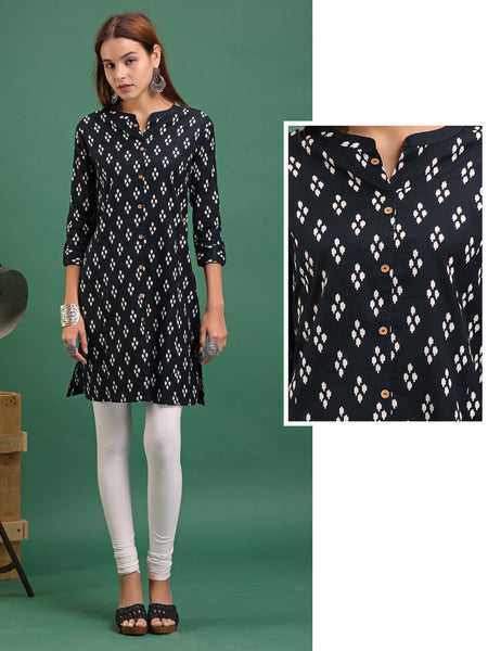 Repeat Motif  Kurta - Black