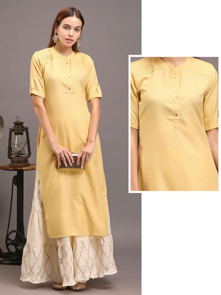 Sleek Buttoned, Pin tucked Casual Cotton Kurti