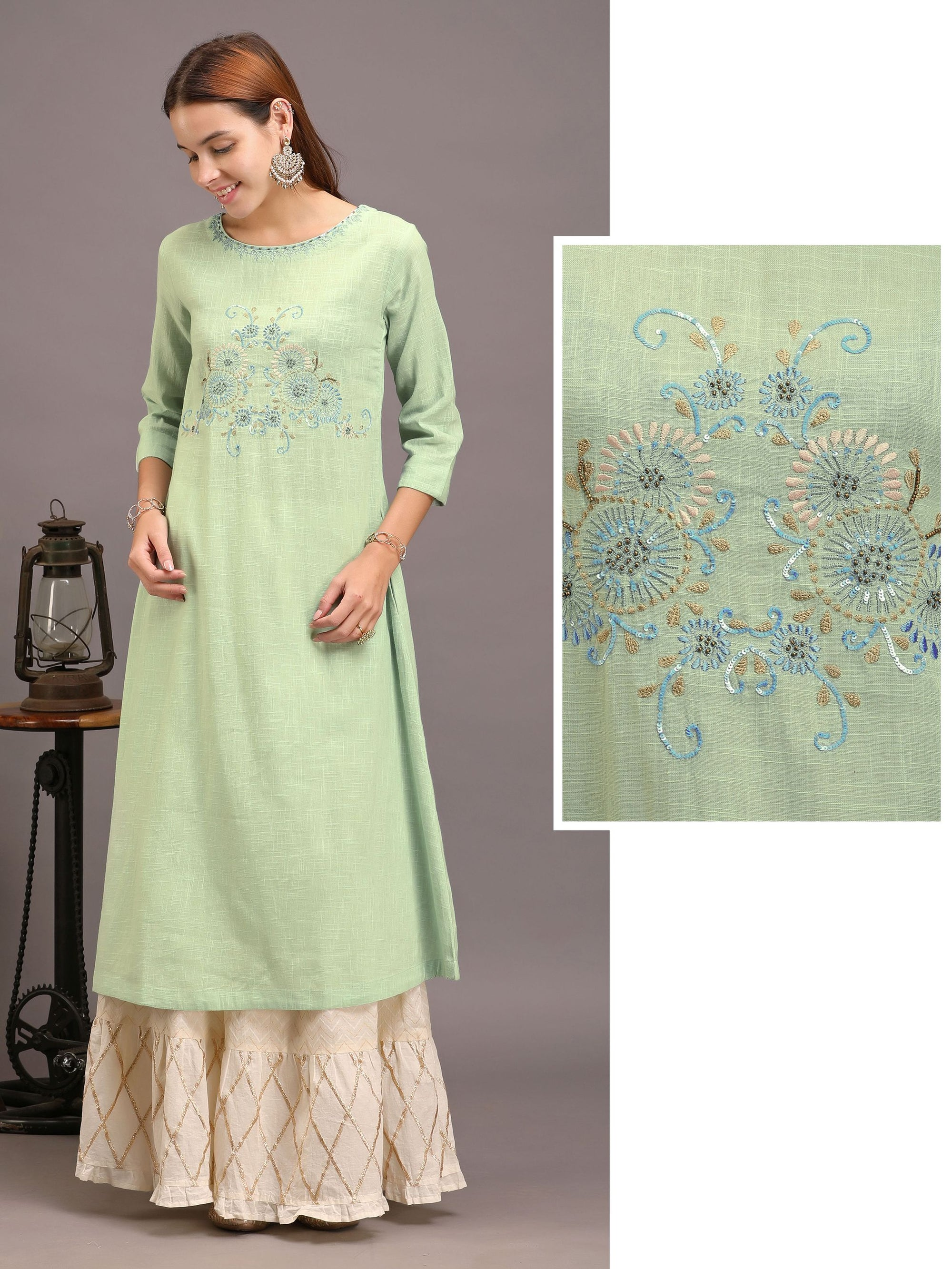 Daisy Floral Embroidered Handloom Cotton Kurti – Blue
