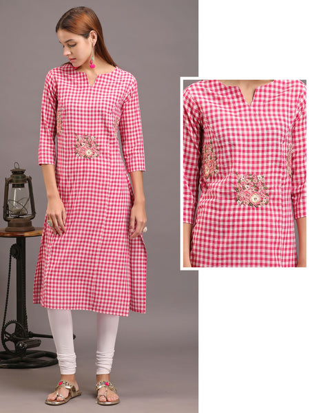 Floral Embroidered & Checkered Princess Cut Cotton Kurti