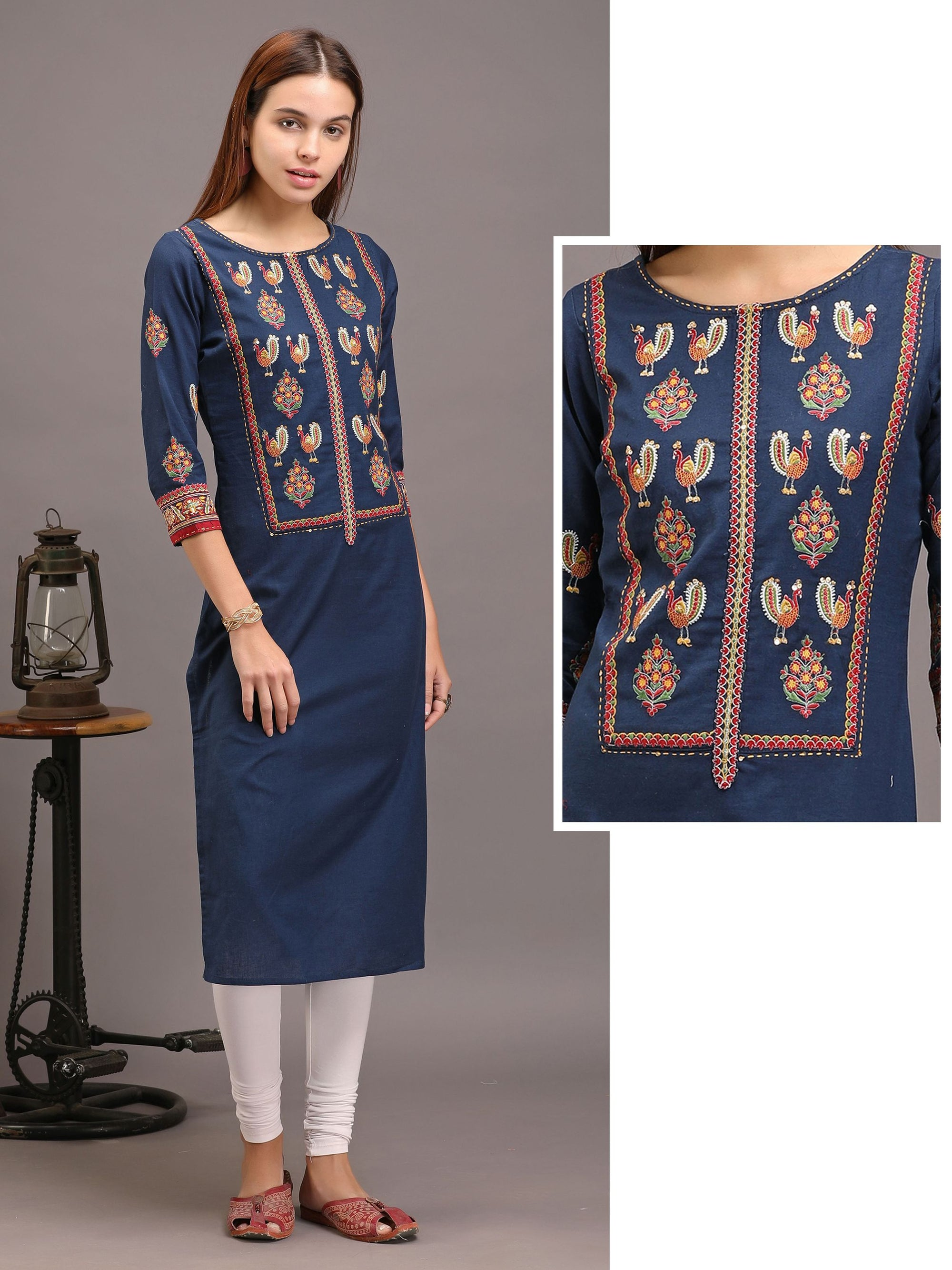 Peacock And Floral Embroidered Kurta