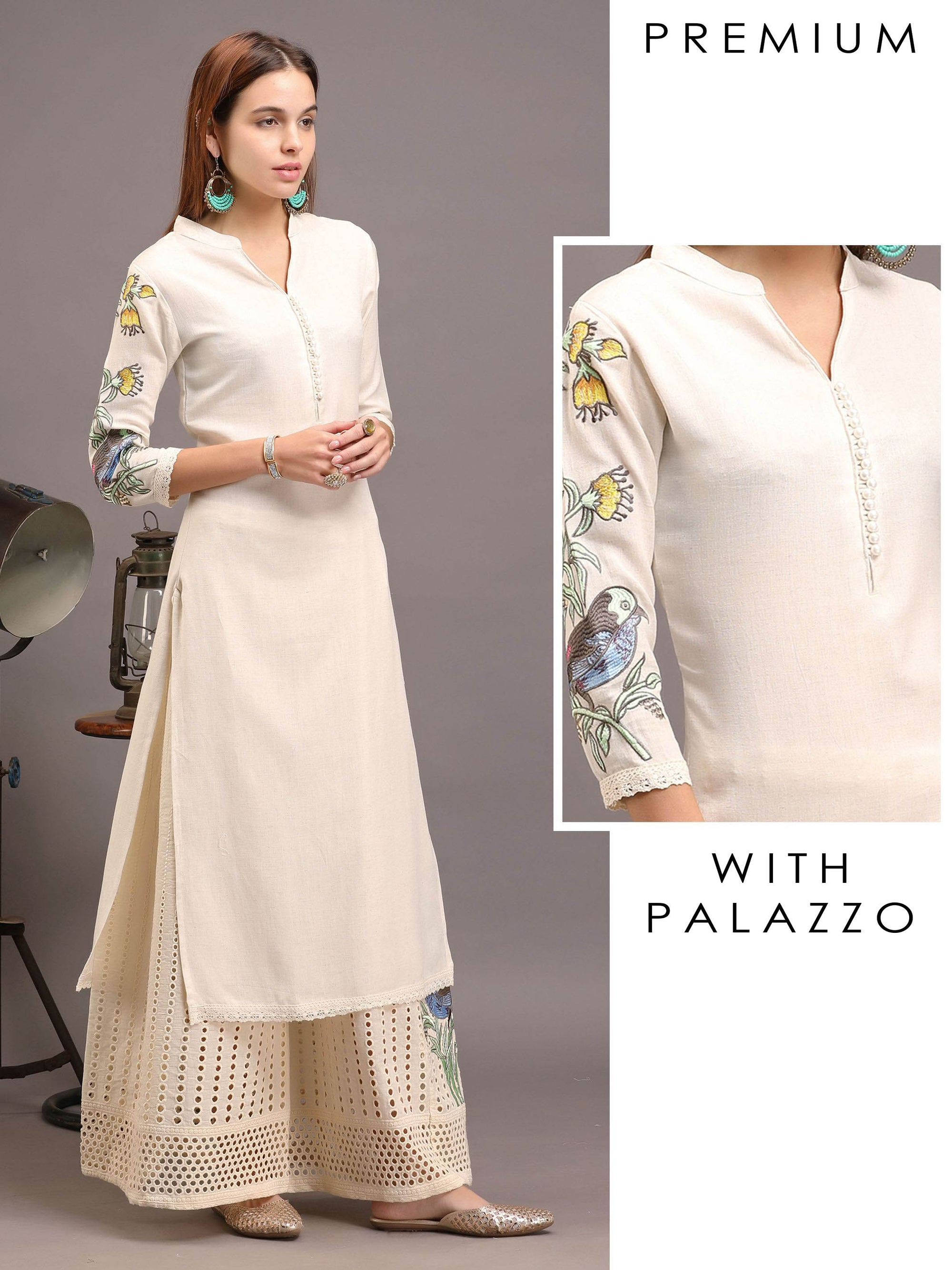 Ivory Bird Embroidered Kurta With Schiffli Palazzo Set