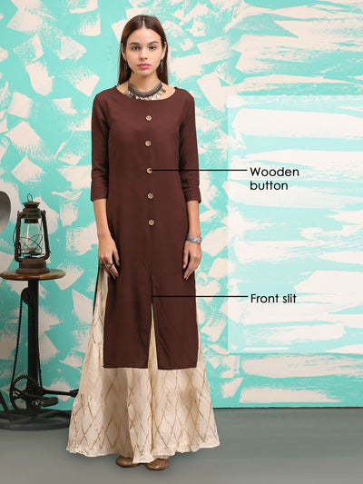 Minimal Button Detailing Kurta - Brown